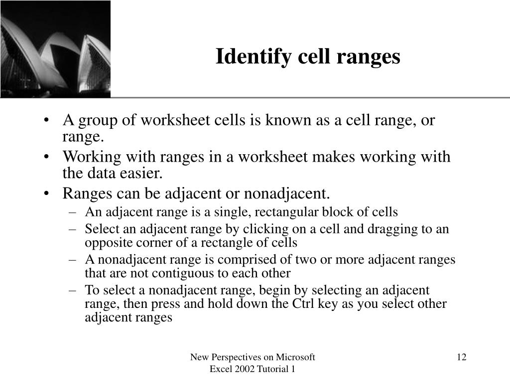 Identify cell ranges