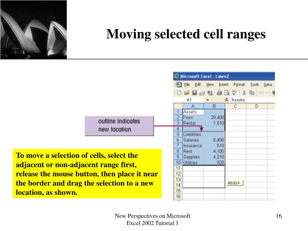 Moving selected cell ranges