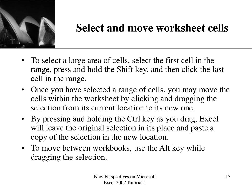 Select and move worksheet cells
