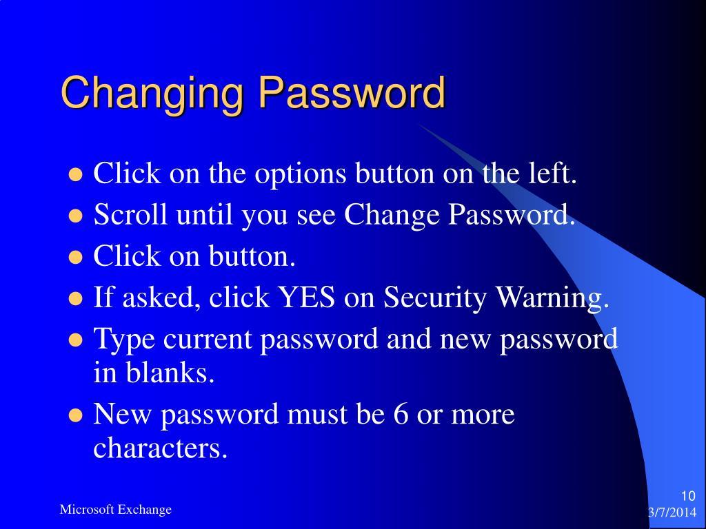 Changing Password