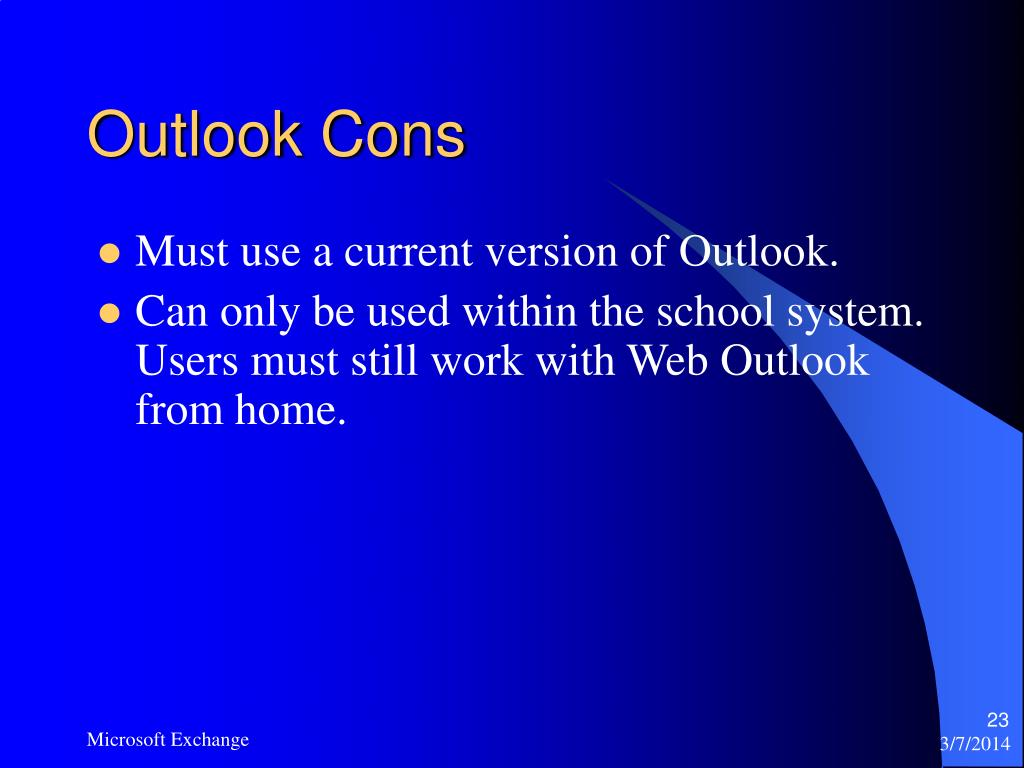 Outlook Cons