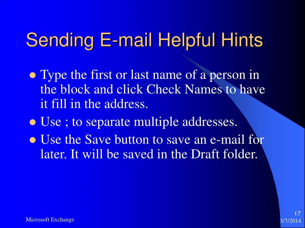 Sending E-mail Helpful Hints