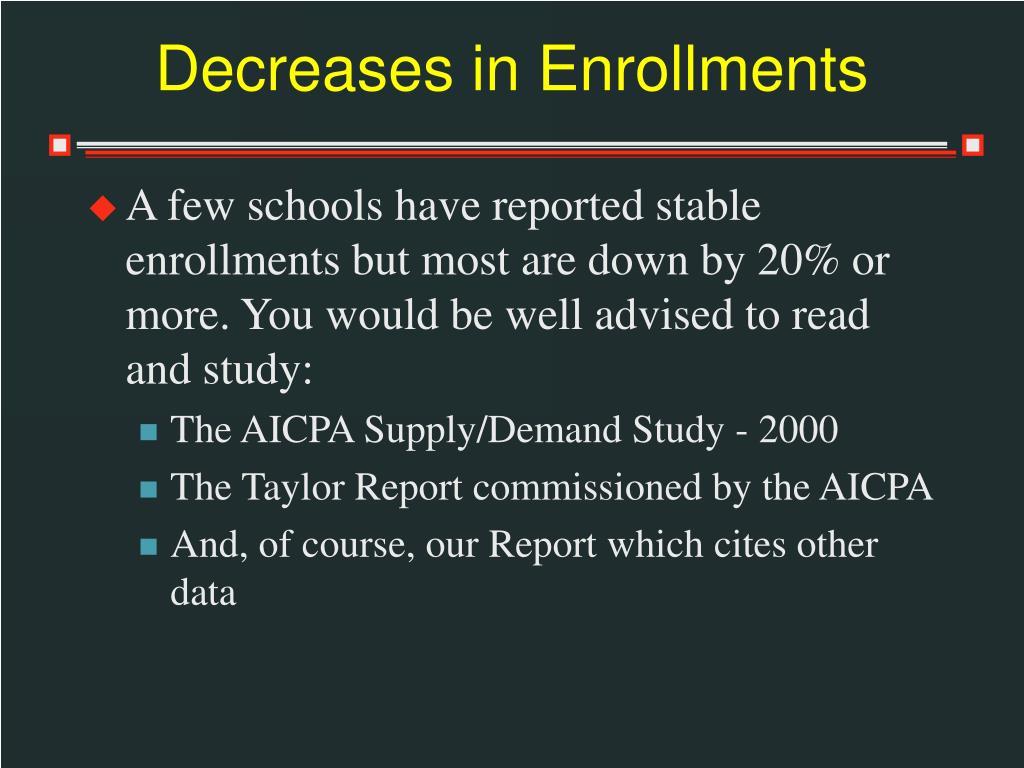Decreases in Enrollments