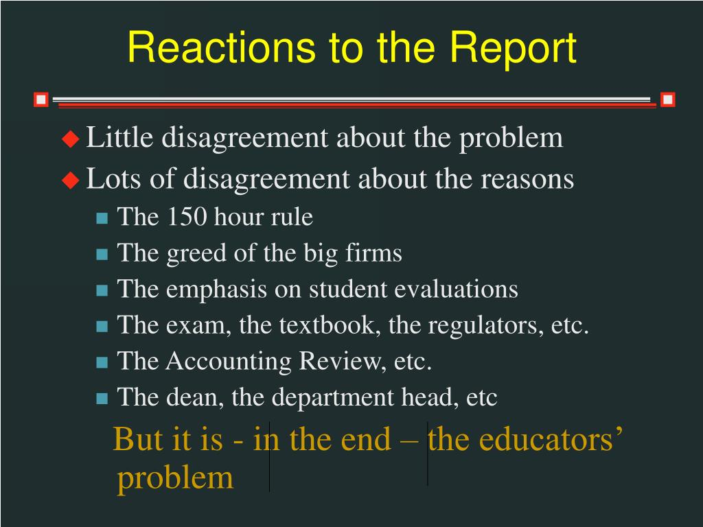 Reactions to the Report