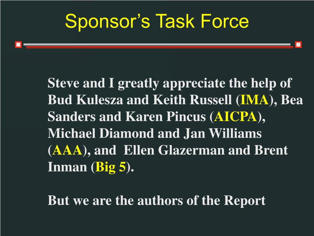 Sponsor's Task Force