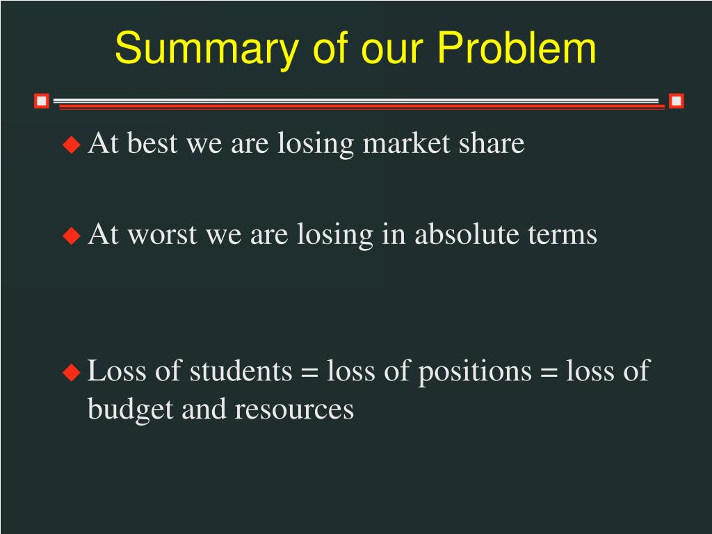 Summary of our Problem