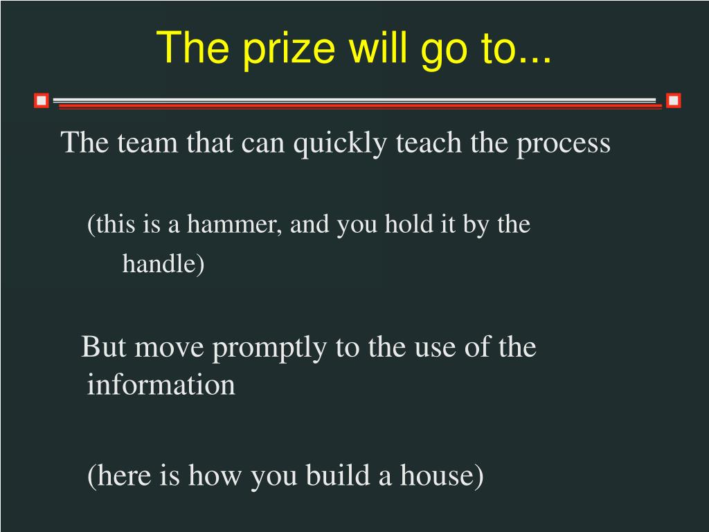The prize will go to...