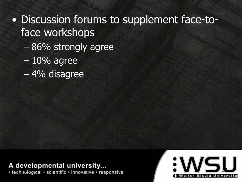 Discussion forums to supplement face-to-face workshops