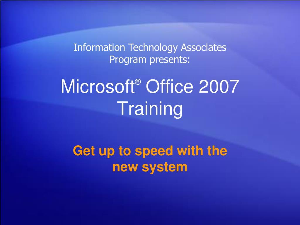 microsoft office 2007 training