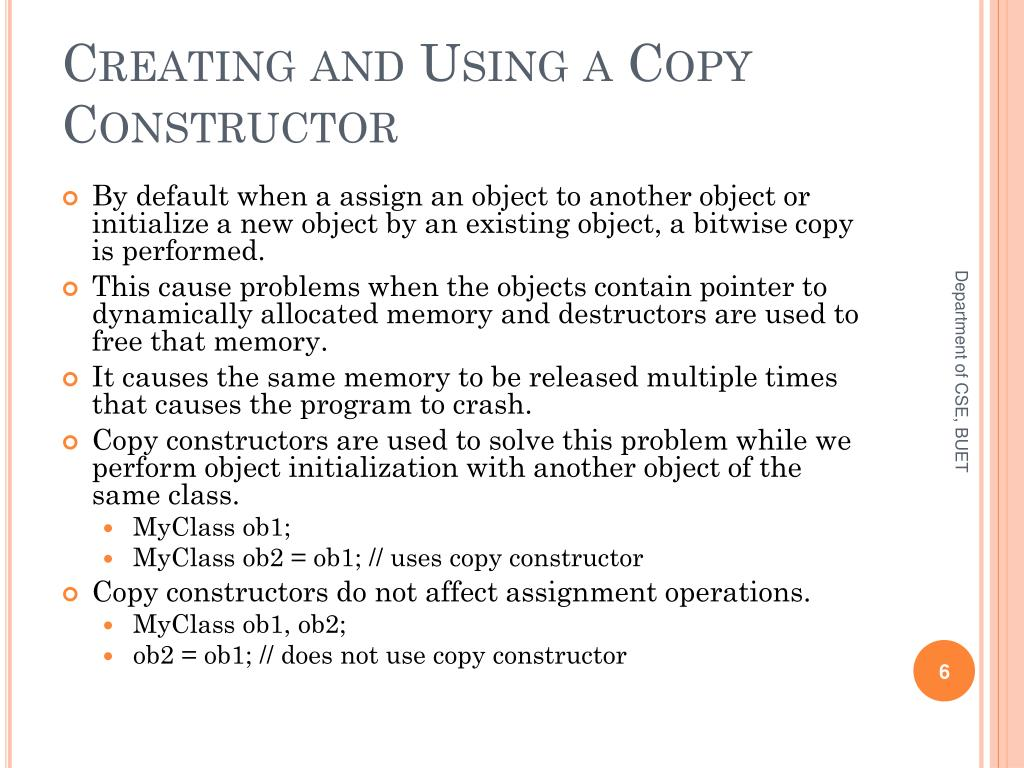 Creating and Using a Copy Constructor