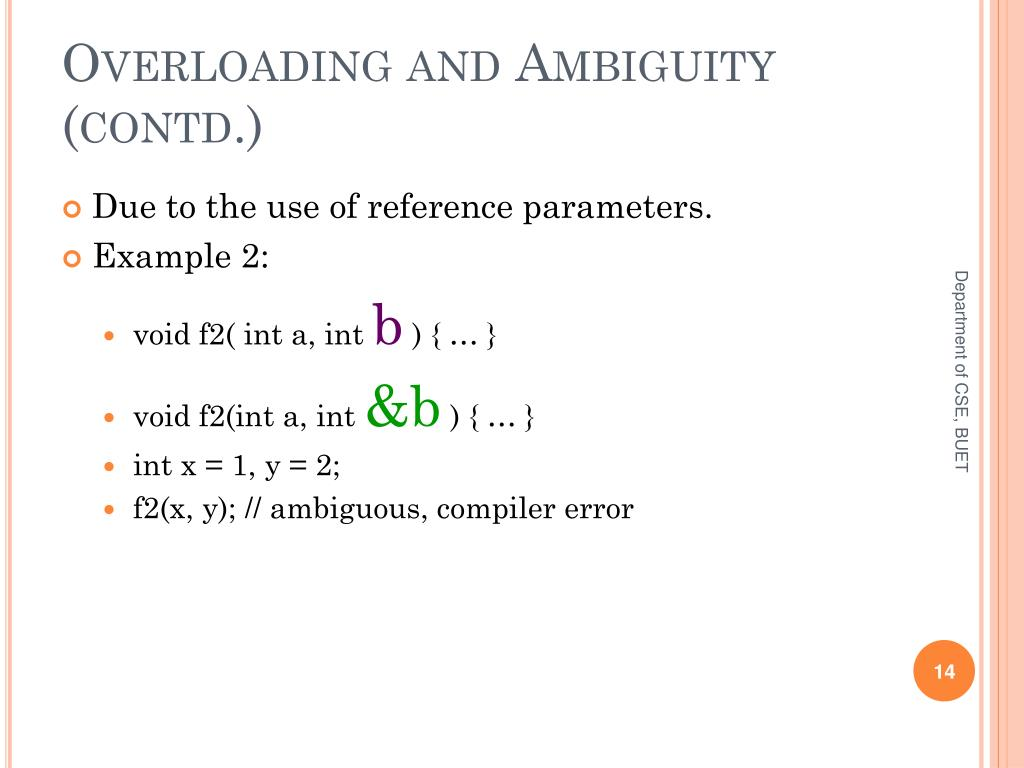 Overloading and Ambiguity (contd.)