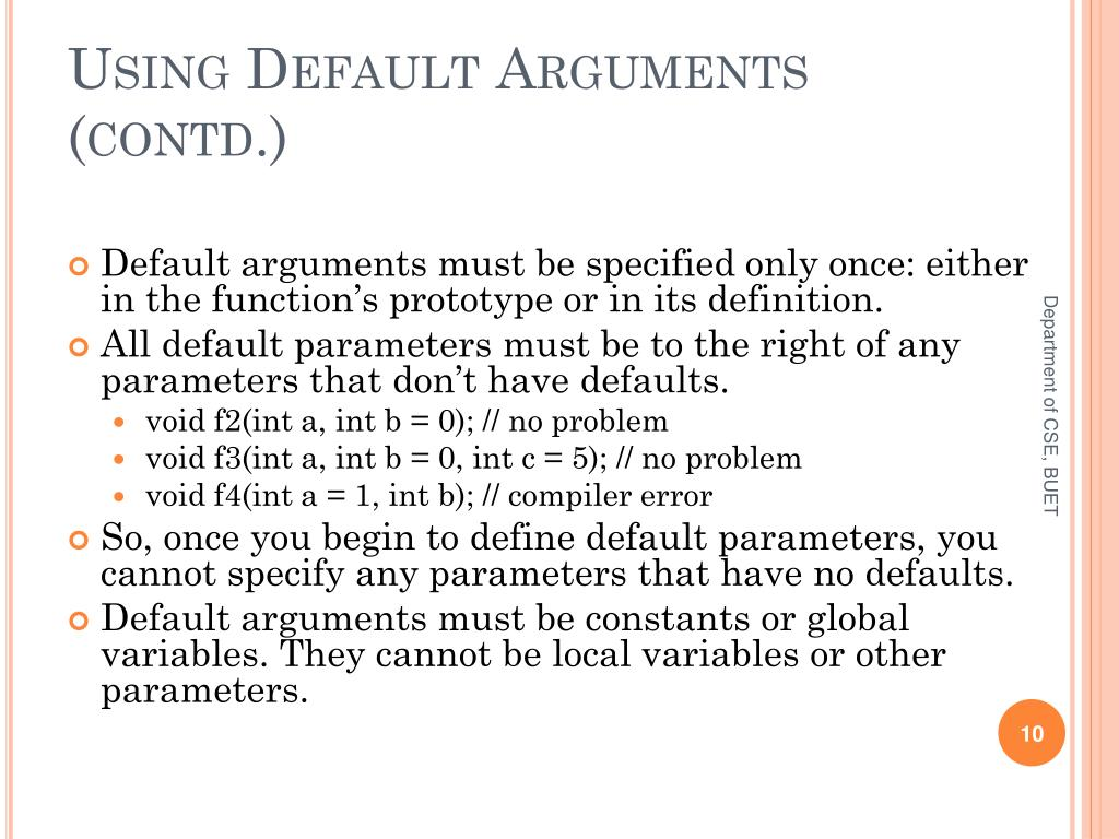 Using Default Arguments (contd.)