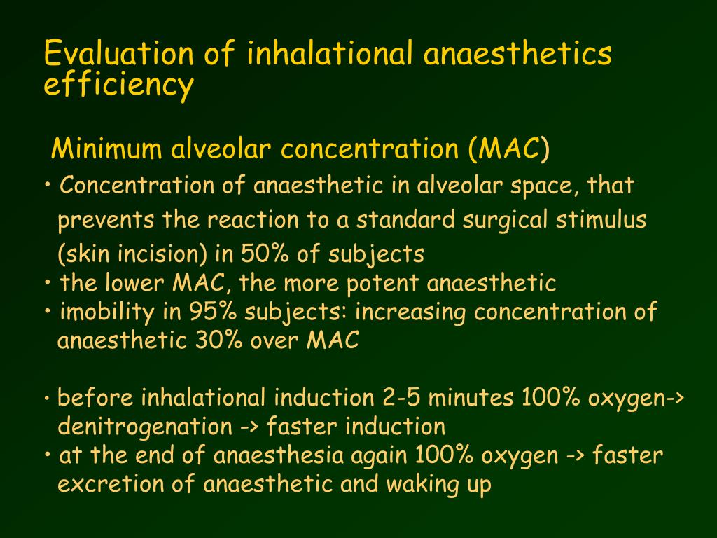 Evaluation of inhalational anaesthetics efficiency