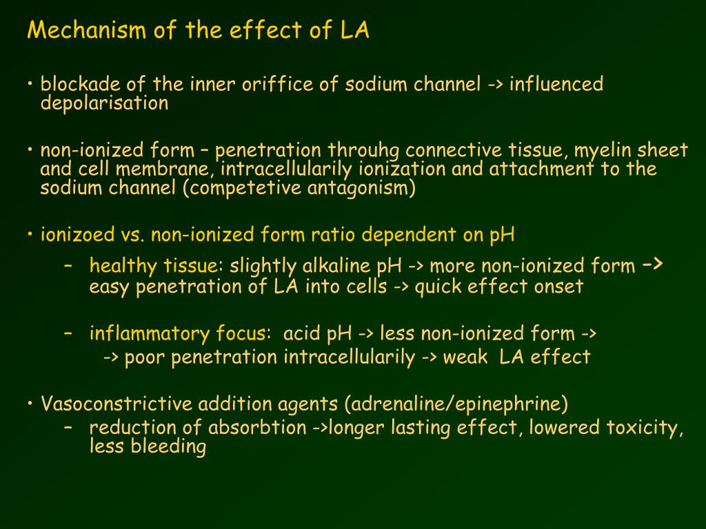 Mechanism of the effect of LA