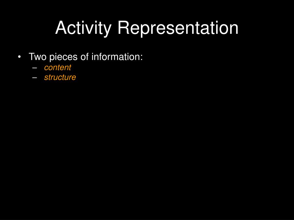 Activity Representation