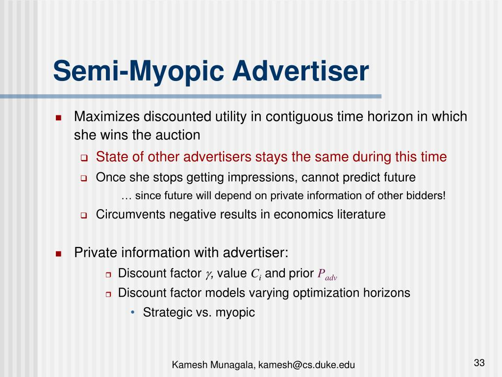 Semi-Myopic Advertiser