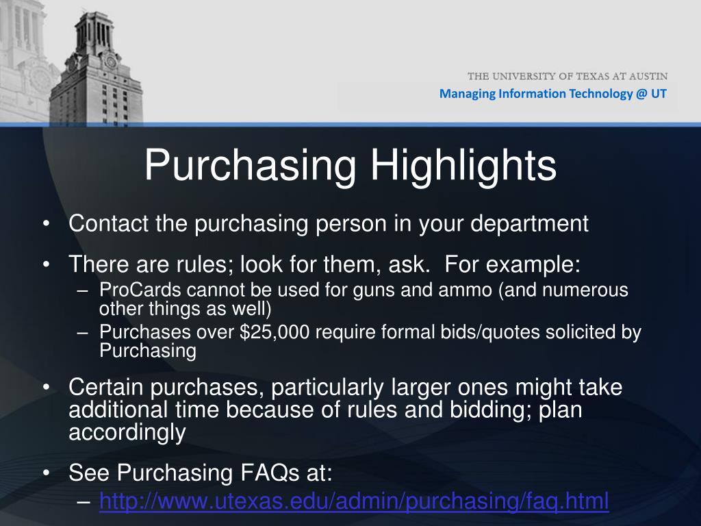 Purchasing Highlights