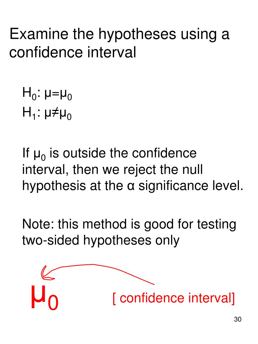 Examine the hypotheses using a confidence interval