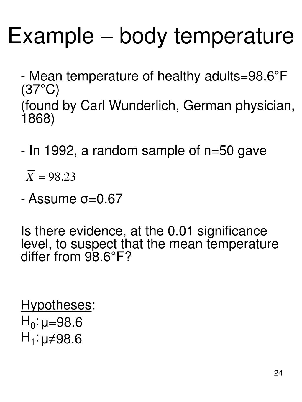 Example – body temperature