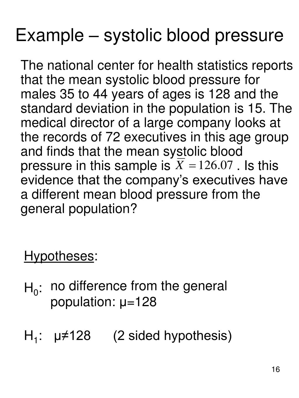 Example – systolic blood pressure