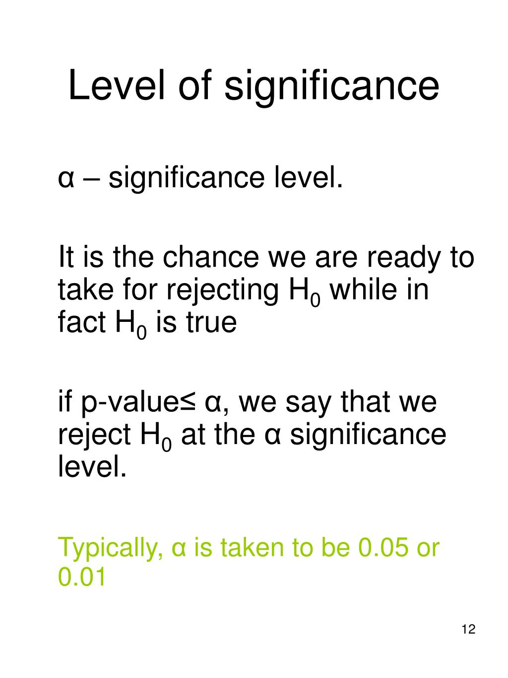 Level of significance