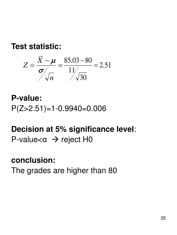 Test statistic: