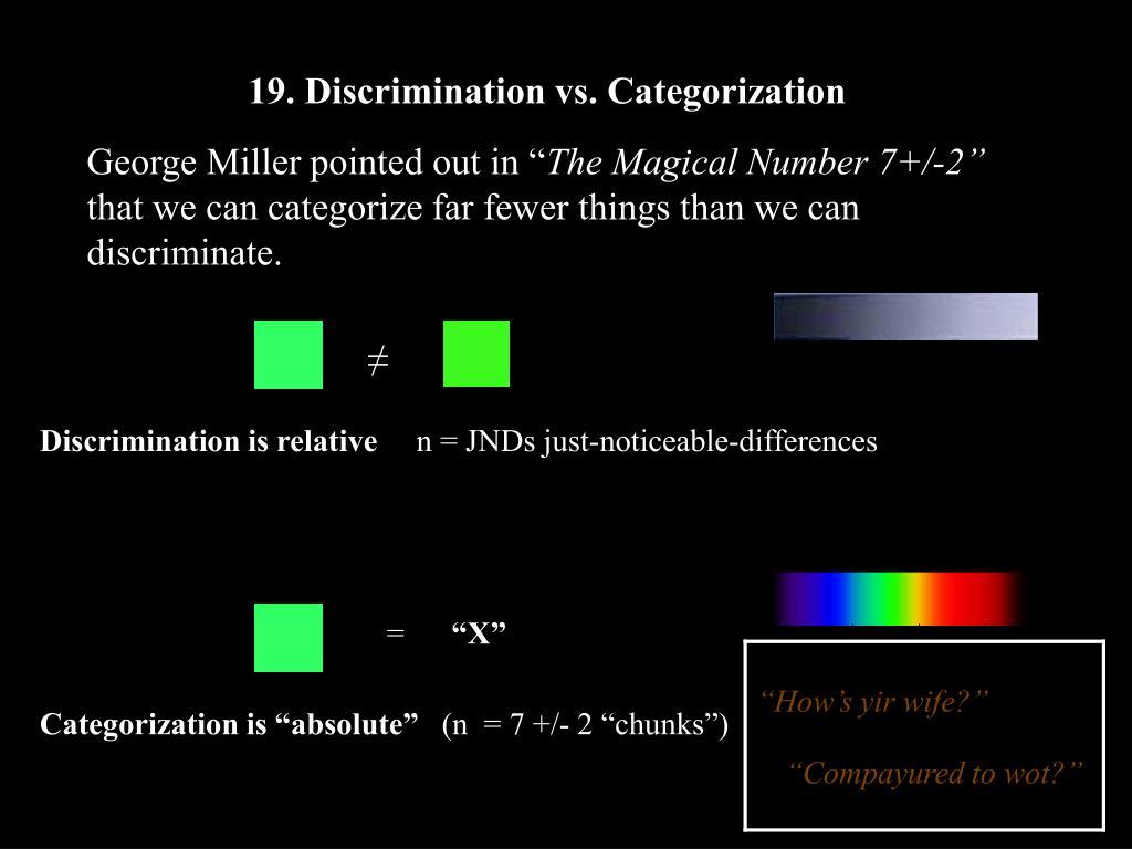 19. Discrimination vs. Categorization