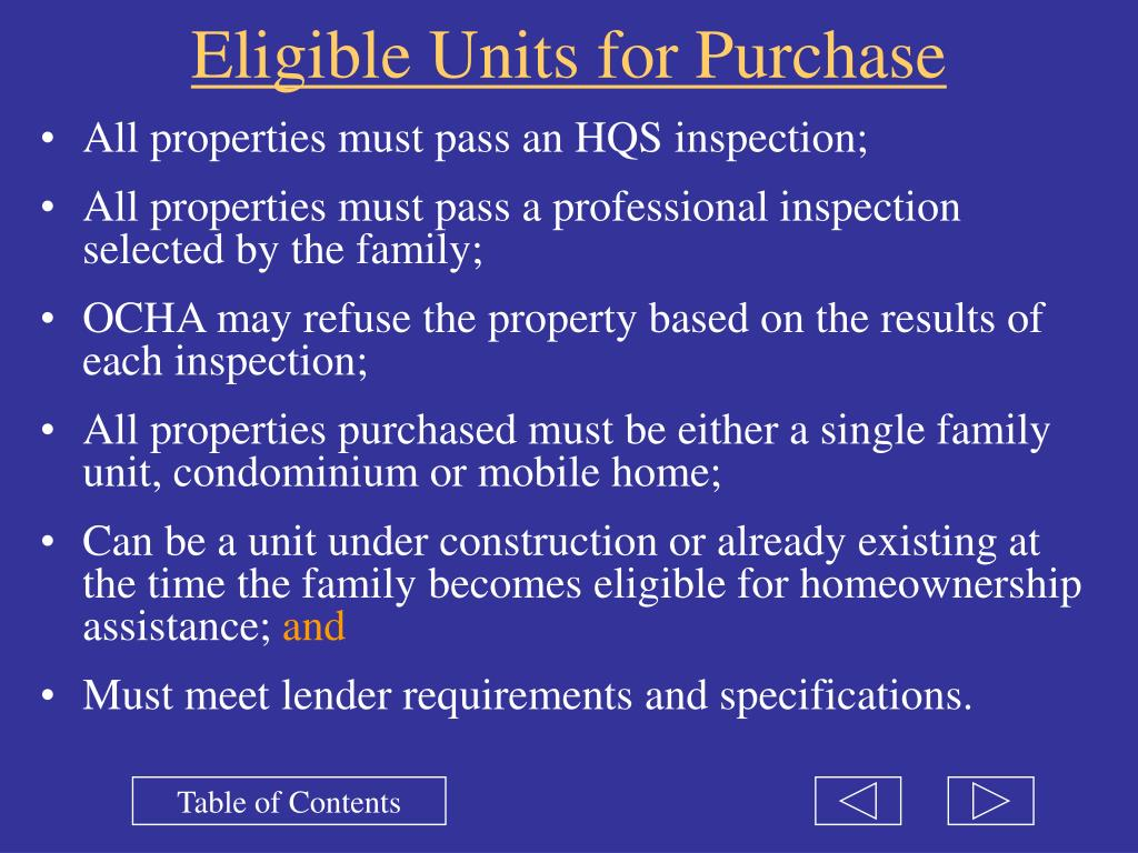 Eligible Units for Purchase