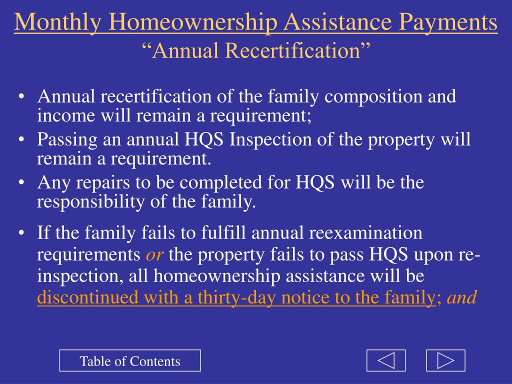 Monthly Homeownership Assistance Payments