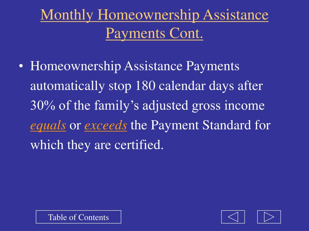 Monthly Homeownership Assistance Payments Cont.