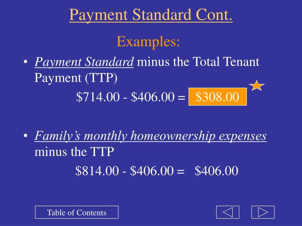 Payment Standard Cont.