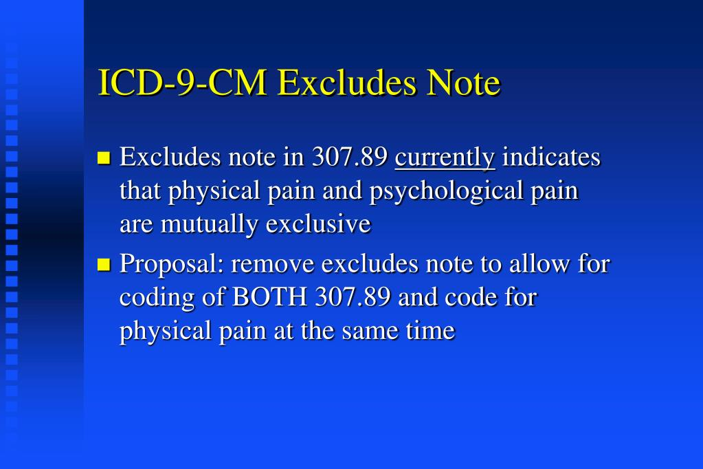 ICD-9-CM Excludes Note