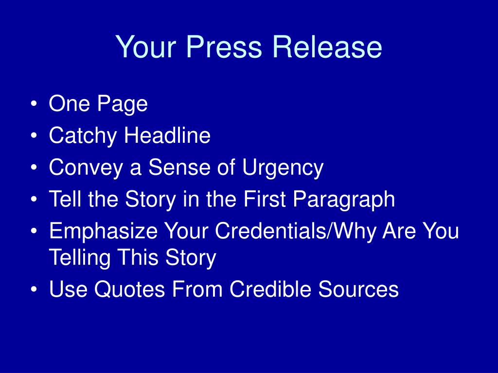 Your Press Release