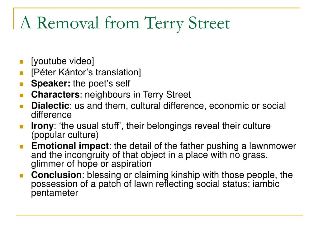 A Removal from Terry Street