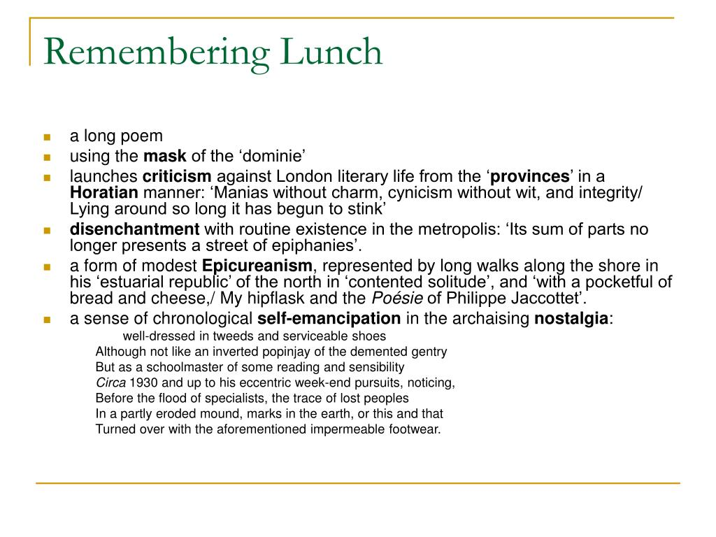 Remembering Lunch