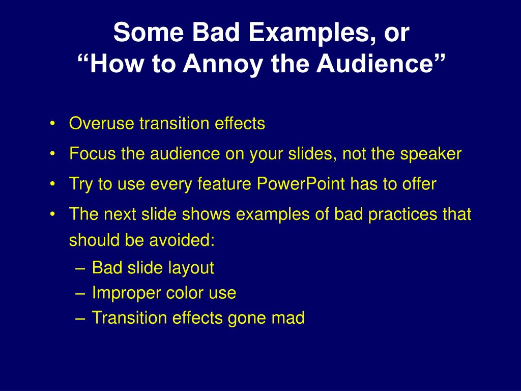 Some Bad Examples, or
