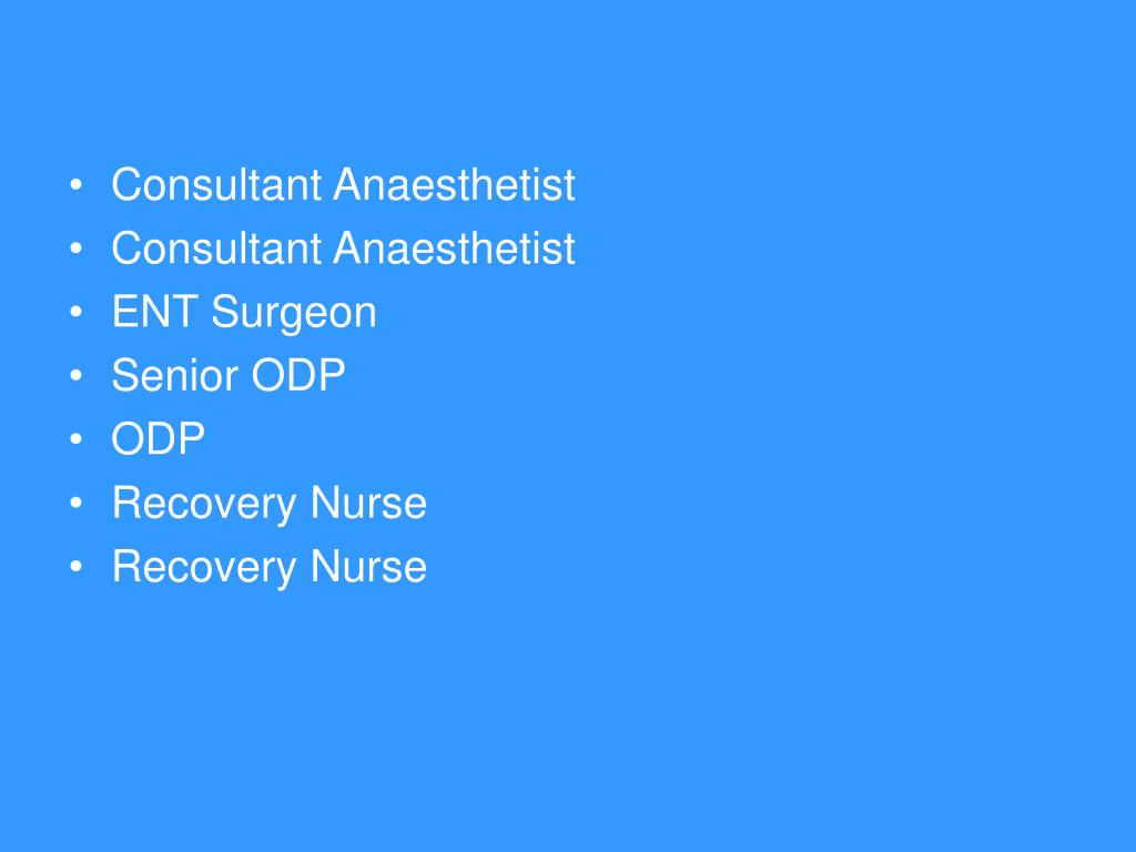 Consultant Anaesthetist