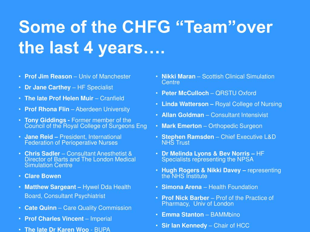 "Some of the CHFG ""Team""over the last"