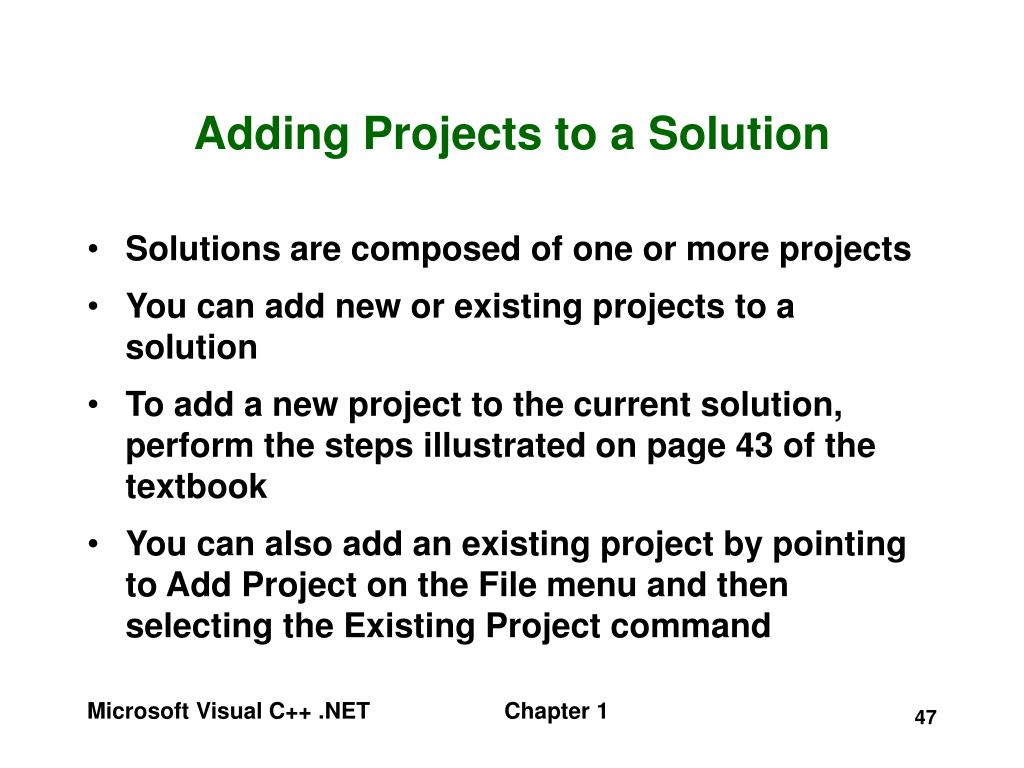Adding Projects to a Solution
