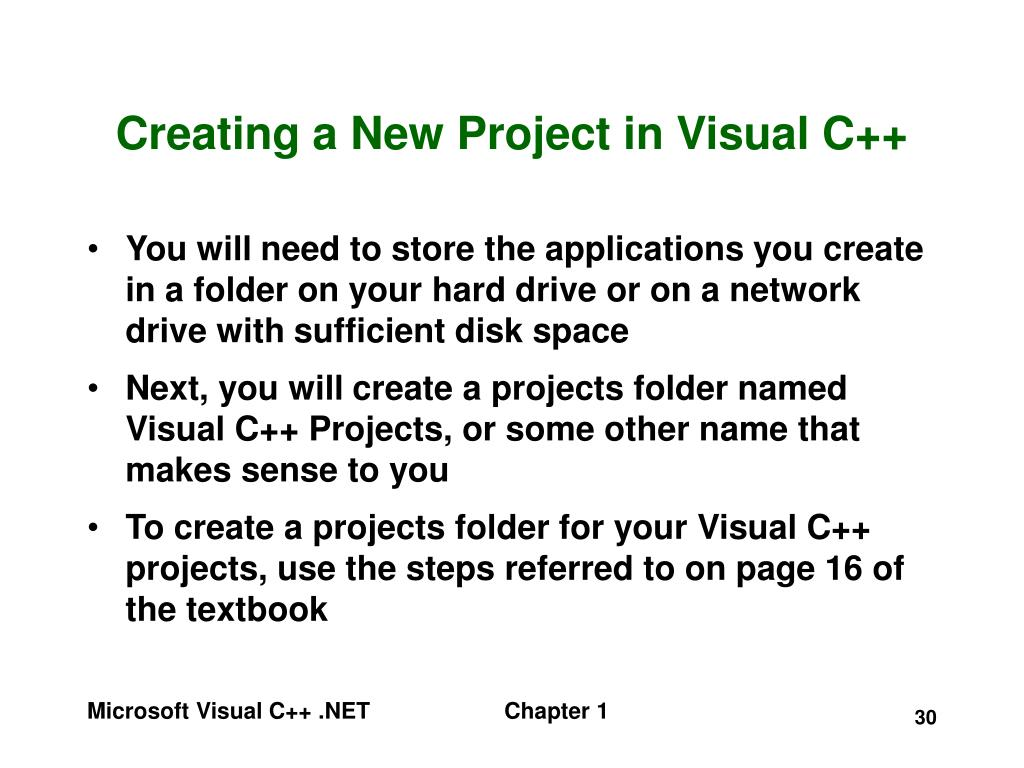 Creating a New Project in Visual C++
