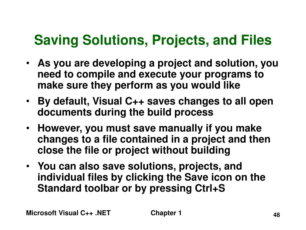 Saving Solutions, Projects, and Files