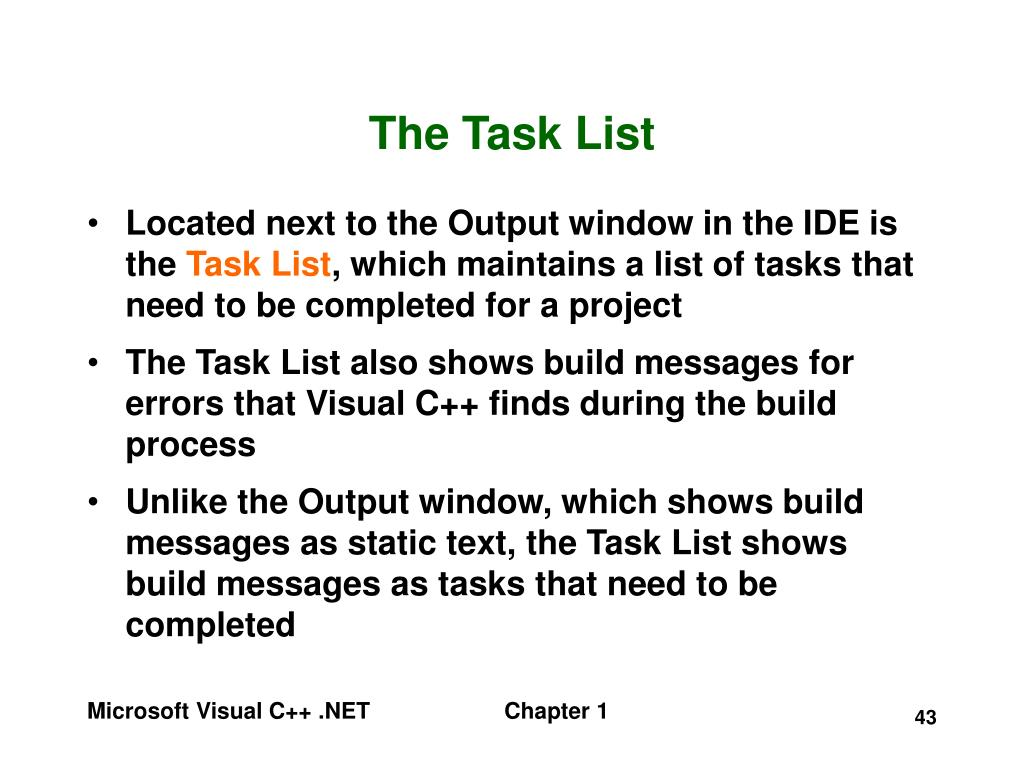 The Task List