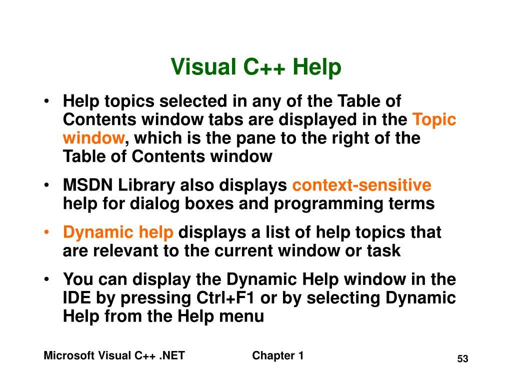 Visual C++ Help