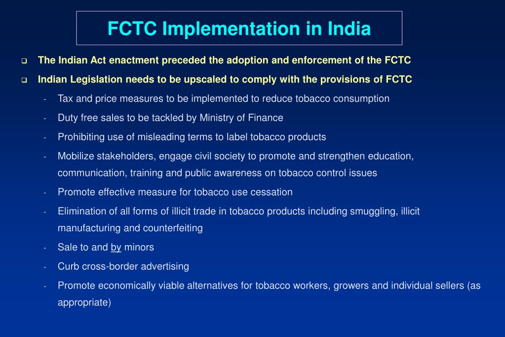 FCTC Implementation in India