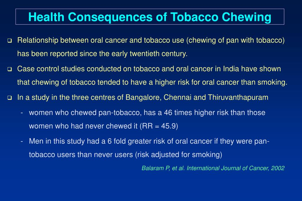 Health Consequences of Tobacco Chewing