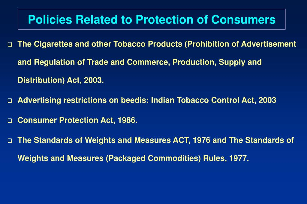 Policies Related to Protection of Consumers