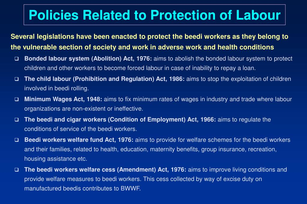 Policies Related to Protection of Labour