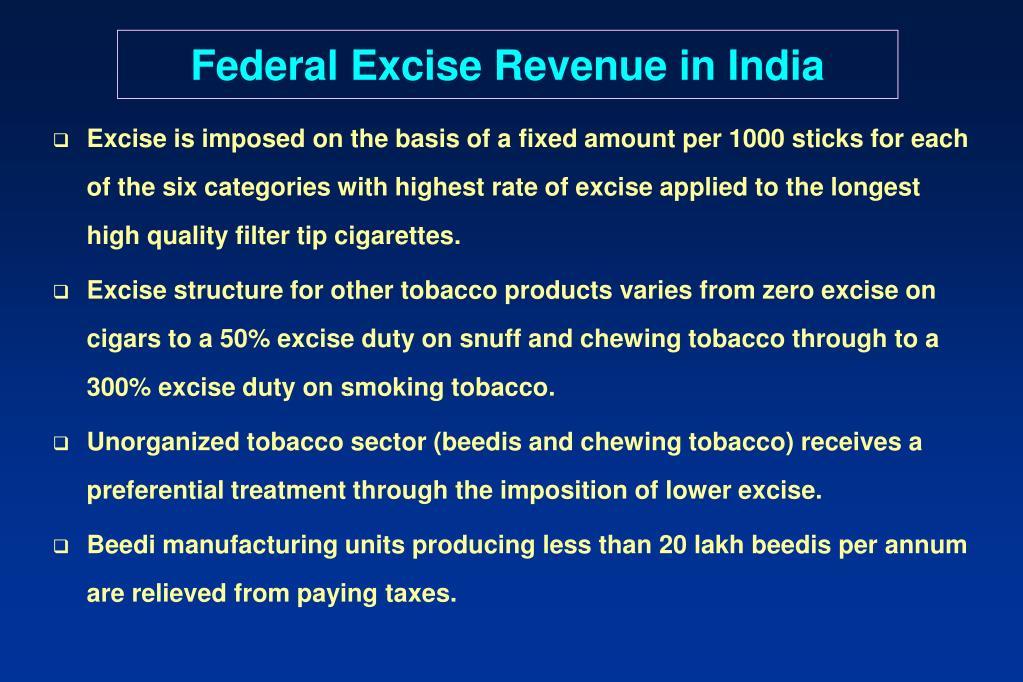 Federal Excise Revenue in India