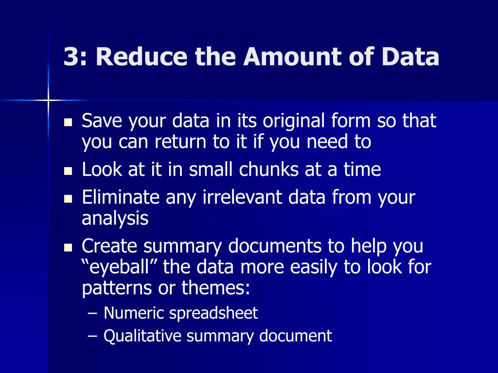 3: Reduce the Amount of Data