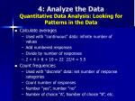 4 analyze the data quantitative data analysis looking for patterns in the data